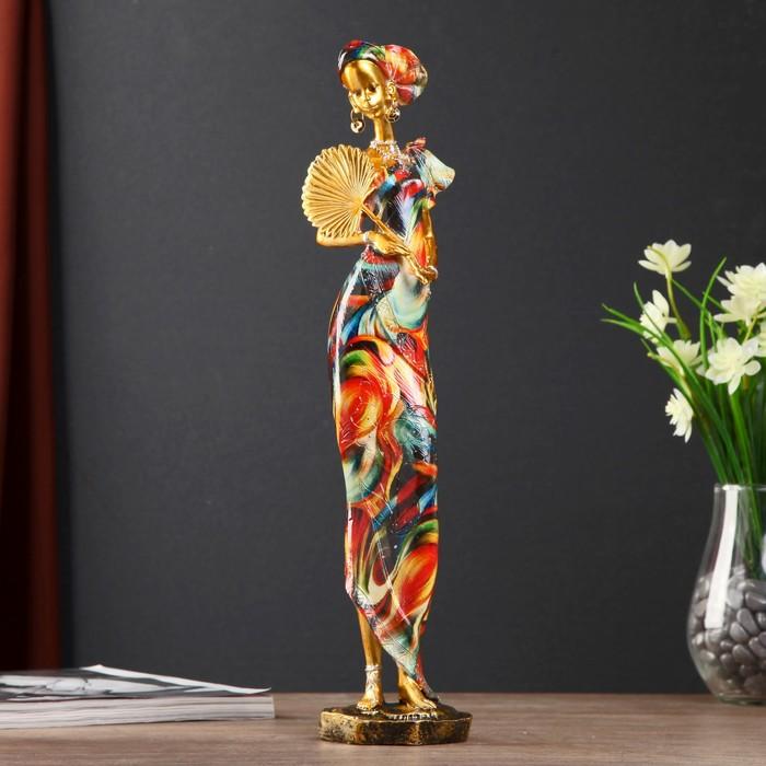 """Сувенир полистоун """"Африканка в красочном платье с веером"""" МИКС 40х9х8 см - фото 798313726"""
