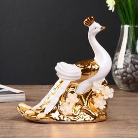 "Сувенир керамика ""Павлин с золотым хвостом"" 15,5х14х6,5 см"