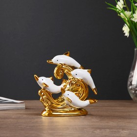 "Souvenir ceramic ""Four dolphins on the waves"" white with gold 13,5x14,5x7 cm"