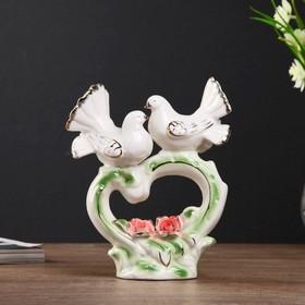 "Сувенир керамика ""Голубки на сердце с розами"" 16,5х15,5х6 см"