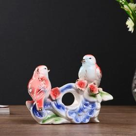 """Сувенир керамика """"Две птички с розами"""" 12,5х16,5х6,5 см"""