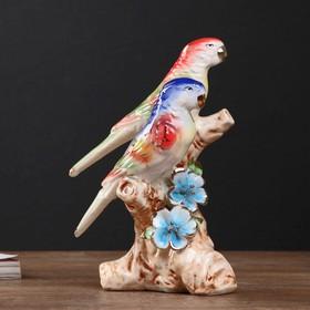 """Сувенир керамика """"Два попугайчика на коряге с цветами"""" 17,8х12х7,5 см"""
