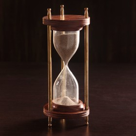 """Песочные часы """"Мираж"""" дерево, латунь (5 мин) 9х9х21,5 см"""