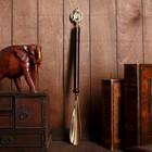 """Shoehorn """"Horse in horseshoe"""" wood,brass 50х4х2,5 cm"""
