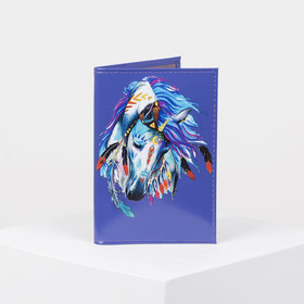 Passport cover, 9,5*0,3*13,5 print horse smooth purple