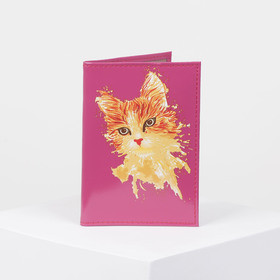 Passport cover, 9,5*0,3*13,5 print kitty, smooth fuchsia