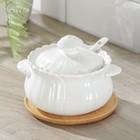 Сахарница Доляна «Эстет, Тюльпан», 350 мл, d=11,5 см, на деревянной подставке, с ложкой - фото 876396