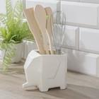 Набор кухонный «Эстет. Слонёнок», 5 предметов: подставка, лопатка, вилка, ложка, венчик - фото 832437