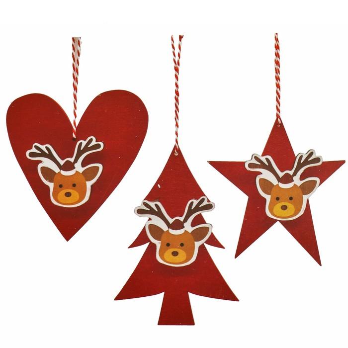 Набор для творчества - создай ёлочное украшение «Новогодние олени», набор 3 шт.