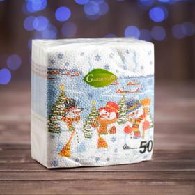 """Новогодние салфетки бумажные """"Гармония цвета многоцветие. Снеговички"""", 24*24 см, 50 листов в Донецке"""