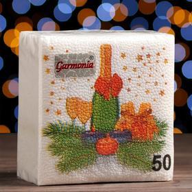 """Новогодние салфетки бумажные """"Гармония цвета многоцветие. Шампанское"""", 24*24 см, 50 листов в Донецке"""