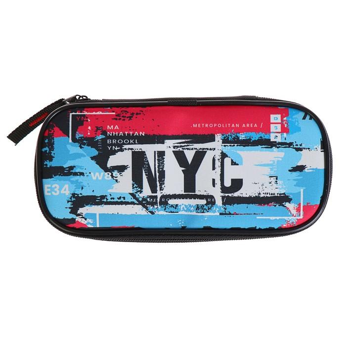 Пенал мягкий футляр ткань, резинка на клапане, 95х205х45 мм, NYC