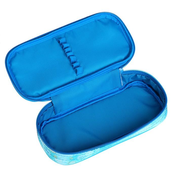 Пенал мягкий футляр ткань, резинка на клапане, 95х205х45 мм, «Хвост русалки»