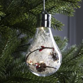 "Елочный шар лампочка ""Шишки"", 5 LED, от батареек, БЕЛЫЙ"