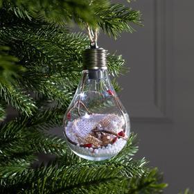 "Елочный шар лампочка ""Новый год"", 5 LED, от батареек, БЕЛЫЙ"