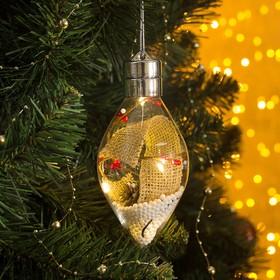"""Елочный шар капля  """"Новый год""""  5 LED. от батареек 2032 (в комплекте) Т/БЕЛЫЙ"""