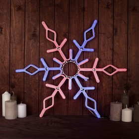 """Фигура из неона """"Снежинка"""", 67 см, 576 LED, 12V, контроллер 8 режимов, СИНЕ-КРАСНЫЙ"""