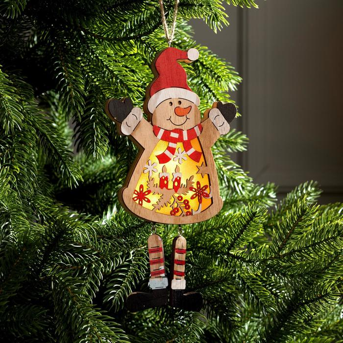 "Подвеска световая ""Снеговик"", 24х12х2 см, 4 LED, бат.(в комп), Т/БЕЛЫЙ - фото 282123316"