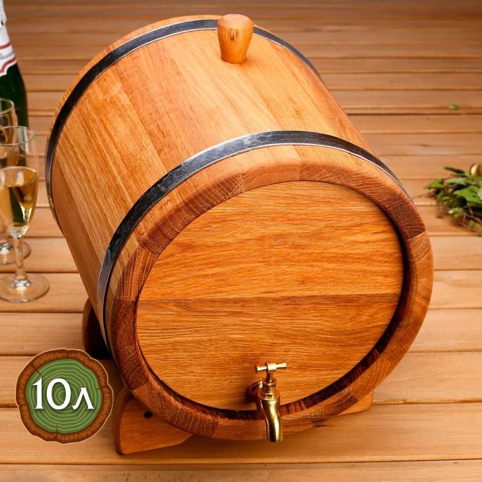 Бочка дубовая на подставке, нержавеющий обруч, кран из латуни, покрыта льняным маслом, 10л