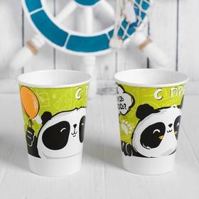 "Glass paper ""happy holidays!"" the Panda, 200 ml, set of 6 PCs (6069070)"