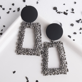 "Metal earrings ""Aesthetics"" trapezoid, black grey"