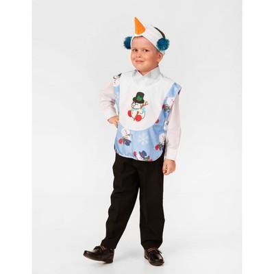 """Карнавальный костюм """"Снеговичок"""", плюш, накидка, головной убор, р. 26, рост 104 см"""