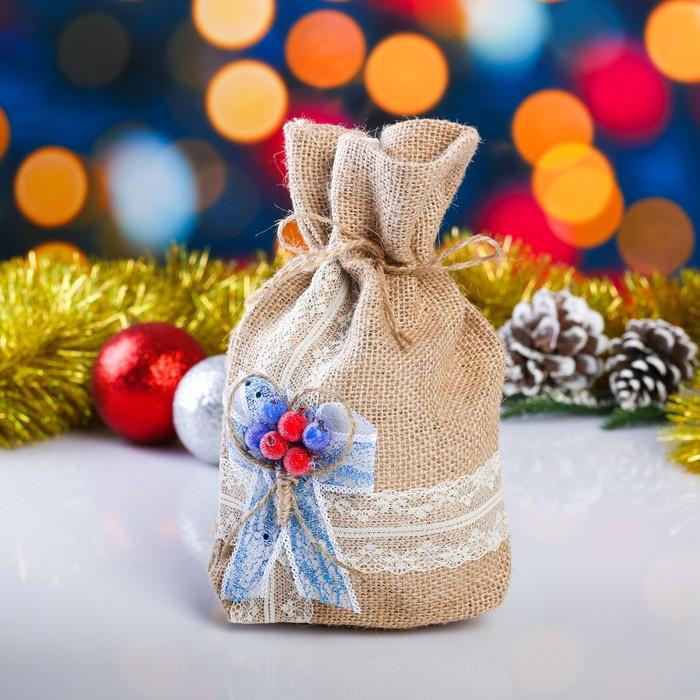 Мешок новогодний из мешковины, украшение цветы,  17х24 см