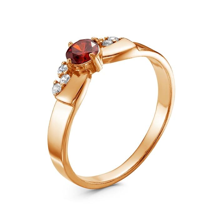 """Кольцо """"Бантик"""", позолота, цвет красный, 17,5 размер"""