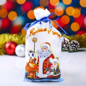 "Мешок новогодний ""Дед Мороз"", с лентой, габардин, 16х30 см"