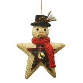 Набор для творчества - создай ёлочное украшение «Снеговичок-звезда холщевая»