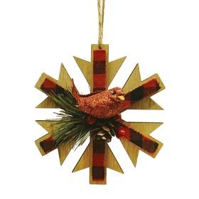 Набор для творчества - создай ёлочное украшение «Снежинка в клеточку с птичкой»