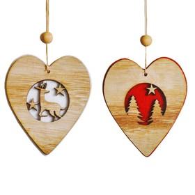 Набор для творчества - создай ёлочное украшение «Новогодние сердечки», набор 2 шт.