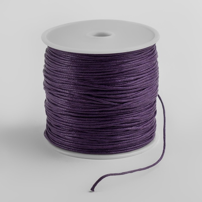 Шнур вощеный на бабине, d=1мм, L=70м, цвет фиолетовый