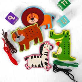 """Игрушка развивающая набор шнуровок """"Животные"""" 4×19,5×19,5 см"""