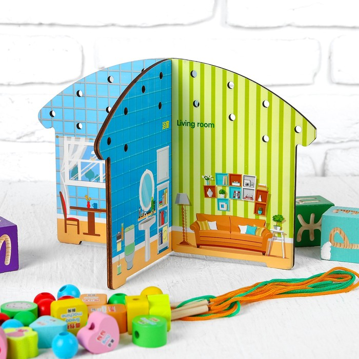 "Игрушка развивающая ""Шнуровка на стенку. Дом"" 4,5×29×18,5 см"