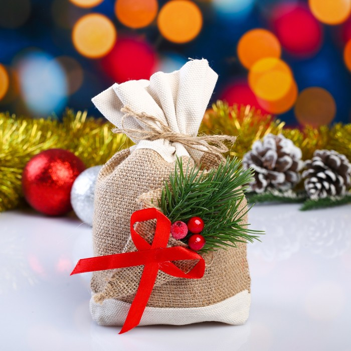 Мешок новогодний из мешковины,  двухцветный, 17х24 см