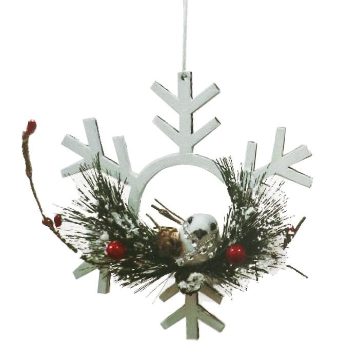 Набор для творчества - создай ёлочное украшение «Снежинка с птичкой», цвет белый