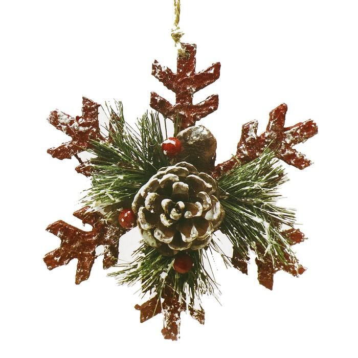 Набор для творчества - создай ёлочное украшение «Снежинка с шишкой»