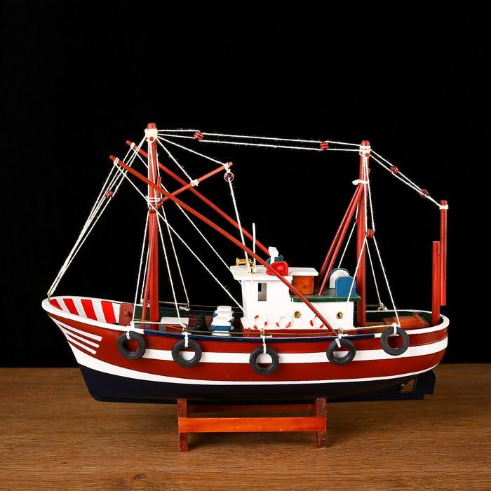 Корабль «Двина» , 32х10х25см, рыбаское судно, зеленый корпус