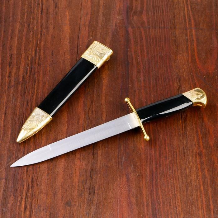 Сув. изделие нож, ножны чёрные с золотым, 35см, клинок 17 см - фото 8875310
