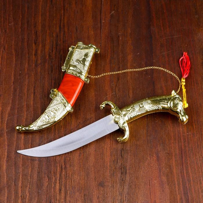 Сув. изделие нож, ножны серебро с красным, клинок 22 см - фото 8875120