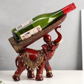 """Сувенир подставка под бутылку полистоун """"Слон с попоной с кисточками"""" 29х28х10,5 см"""