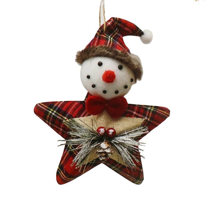 Набор для творчества - создай ёлочное украшение «Снеговичок-звезда в клеточку»