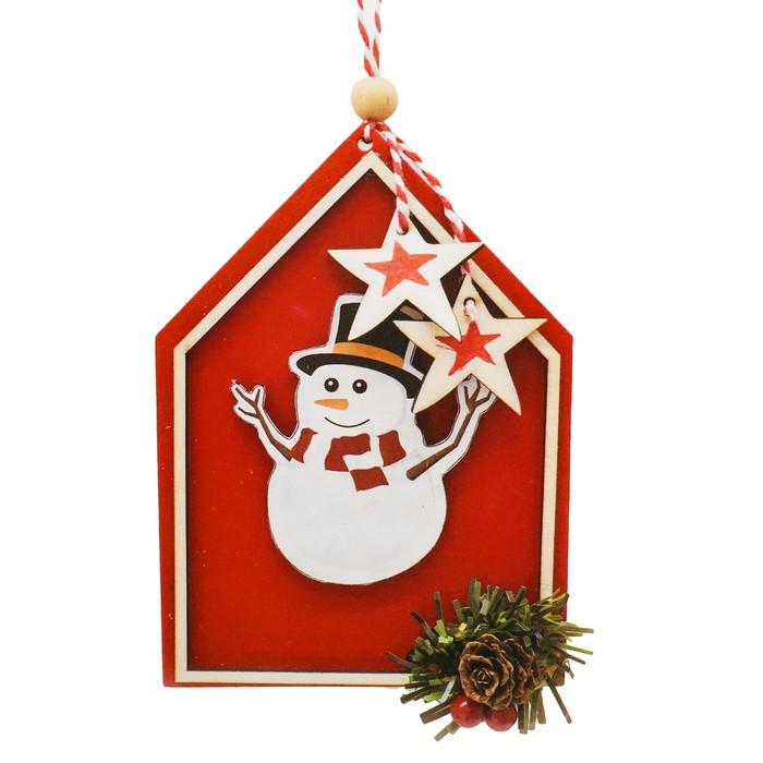 Набор для творчества - создай ёлочное украшение «Снеговик в красном домике» - фото 99697