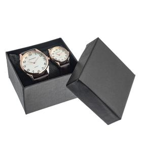 """Часы наручные, """"Филис"""", парный набор для нее и для него, коричневый"""