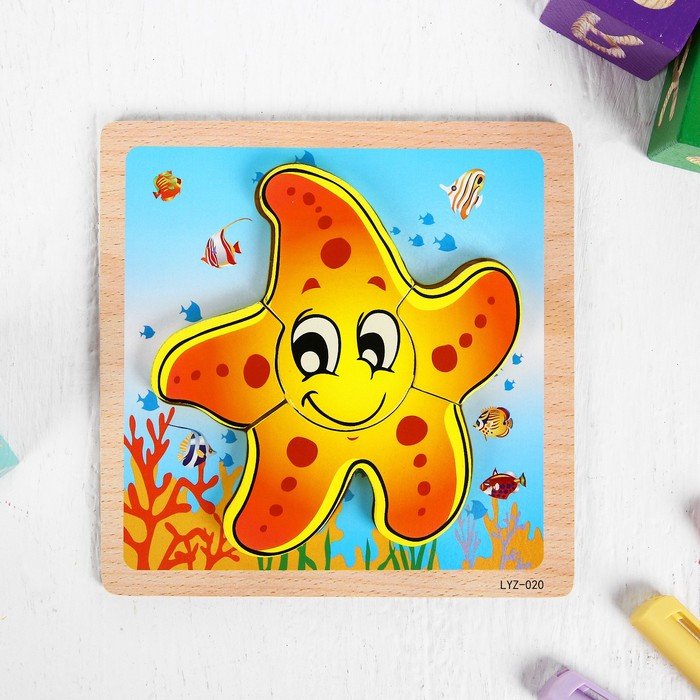 Игрушка развивающая пазл «Морская звезда» 1×14,7×14,7 см - фото 105597529