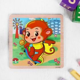Игрушка развивающая пазл «Обезьянка» 1×14,7×14,7 см