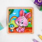 Игрушка развивающая пазл «Зайка» 1×14,7×14,7 см - фото 1036667