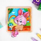 Игрушка развивающая пазл «Зайка» 1×14,7×14,7 см - фото 1036668
