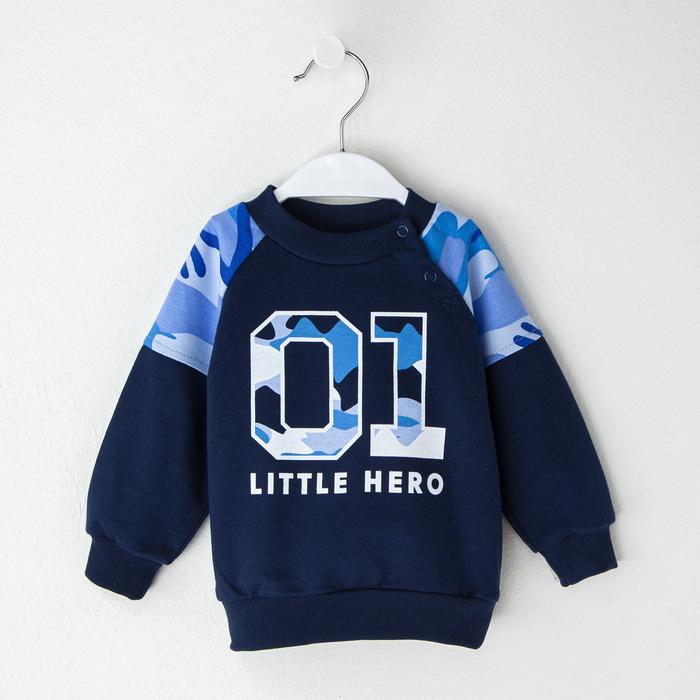 """Джемпер Крошка Я """"Little hero"""", синий, 24 р, 68-74 см - фото 105711879"""